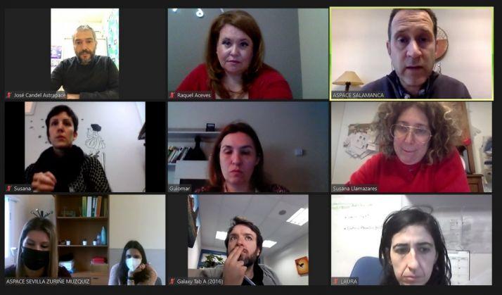 Grupo de trabajo de ASPACE, con la soriana Laura de Diego abajo a la derecha.