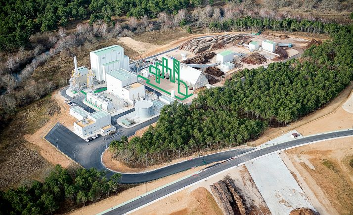 Simulación 3D de la ubicación de la planta de Carburos Metálicos en las instalaciones de Bioeléctrica de Garray.