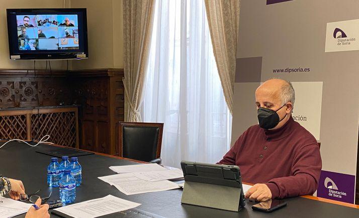 El diputado, Javier Navarro, durante la reunión telemática. /Dip.