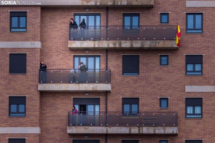 Vecinos de Soria durante el confinamiento estricto. /Viksar Fotografía