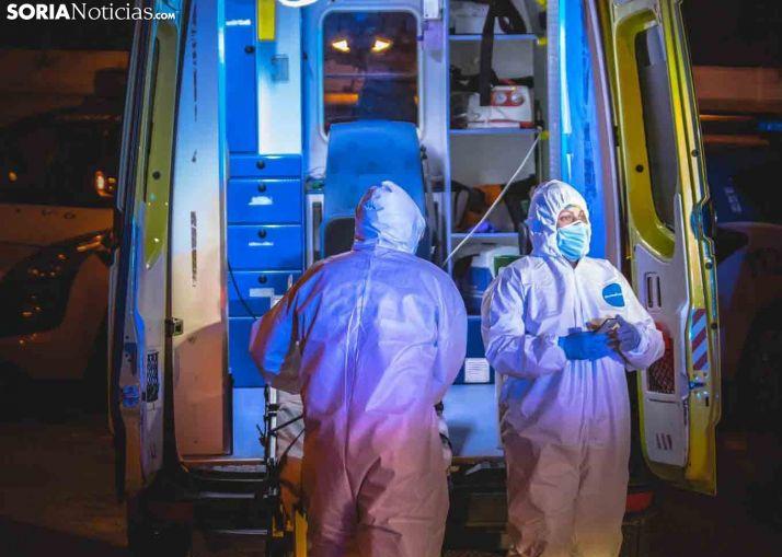 Sanitarios trabajando durante un cribado en Soria.