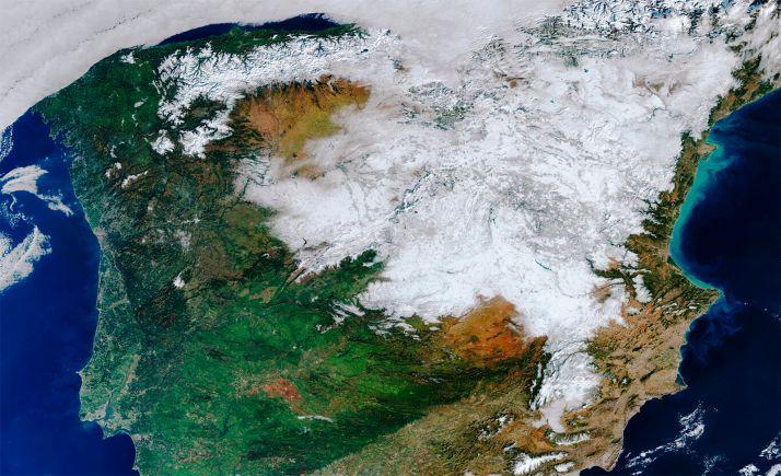 Imagen satelital de la nieve que dejó Filomena.