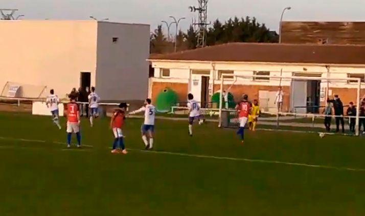Imagen tras el penalti transformado por la SD Almazán.