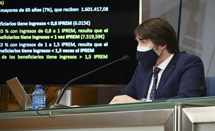 El consejero de Fomento, Juan Carlos Suárez-Quiñones, en comparecencia de prensa este martes. /Jta.