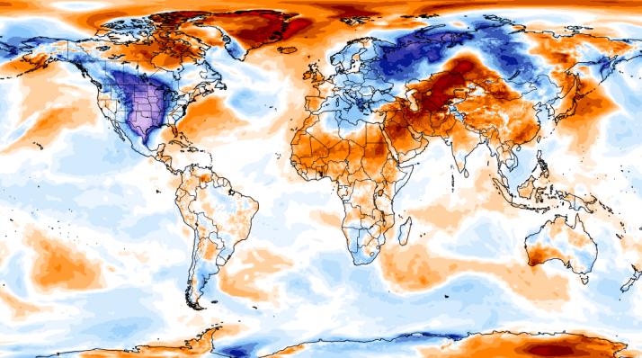 Este mapa muestra la anomalía de la temperatura del aire de 2 m (es decir, la desviación del período de referencia 1979-2000). Fuente: WMO