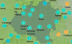 Temperaturas a la una de la tarde de este domingo. /AEMET