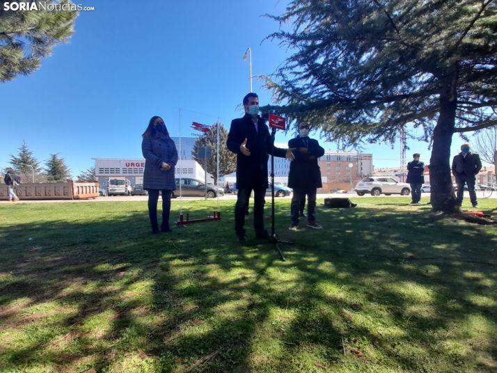 Luis Tudanca en Soria durante la jornada de hoy.