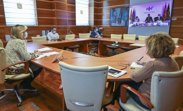 Responsables de la Consejería de Sanidad durante el Consejo Interterritorial celebrado esta tarde. /Jta.