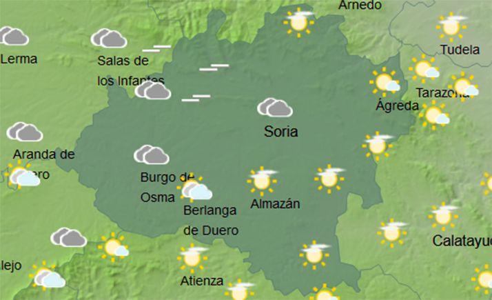 Mapa de la provincia para las 14:00 horas de este jueves. /AEMET