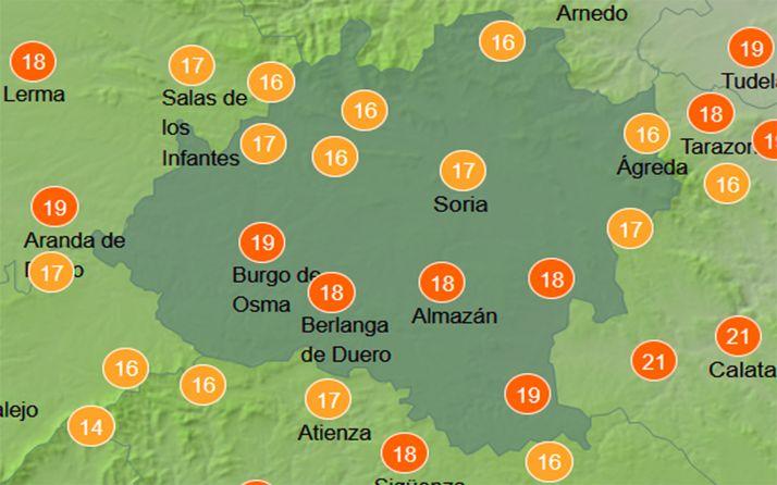 Temperaturas a las dos de la tarde de este miércoles. /AEMET