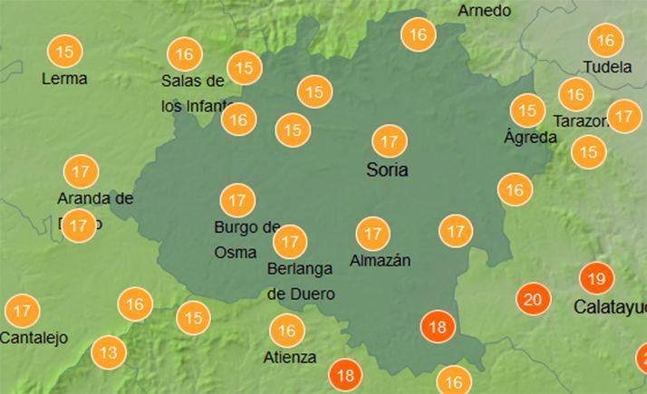 Temperaturas a las doce del mediddía este jueves. /AEMET