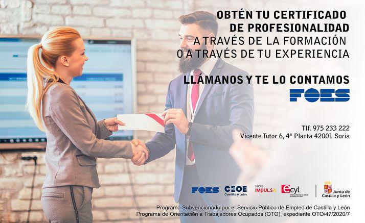 Foto 1 - FOES busca aumentar la cualificación del mercado laboral soriano con los certificados de profesionalidad