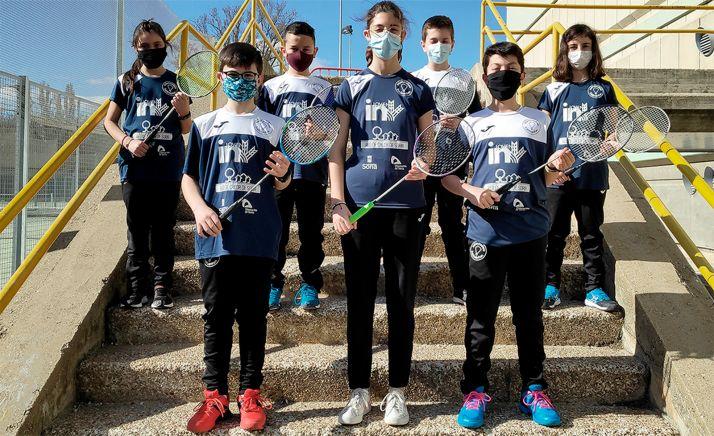 Volantistas sub13 del Club Valonsadero Bádminton el domingo en Palencia. /CVB