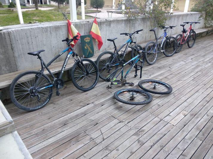 Bicletas recuperadas por la Guardia Civil.
