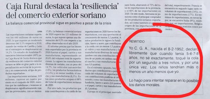 'Yo declaro que toqué la cola por un segundo a tres niños': El surrealista anuncio de la prensa de Soria