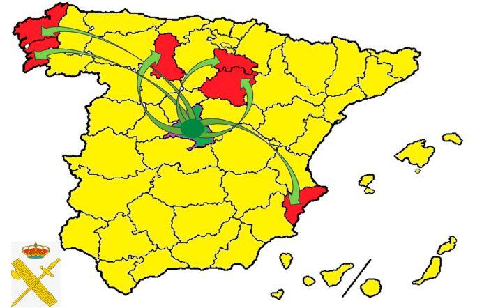 Provincias donde ha actuado la organización criminal. /GC
