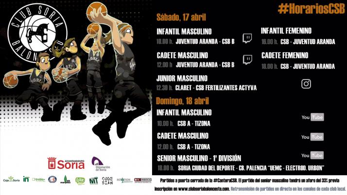 Cartel anunciador de los partidos de la cantera del CSB este fin de semana./ Foto: CSB