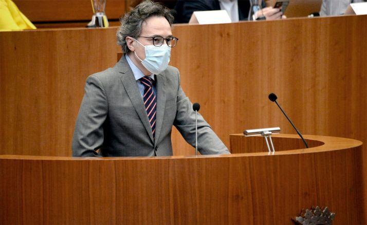 González, durante su intervención en la sede parlamentaria regional este miércoles.