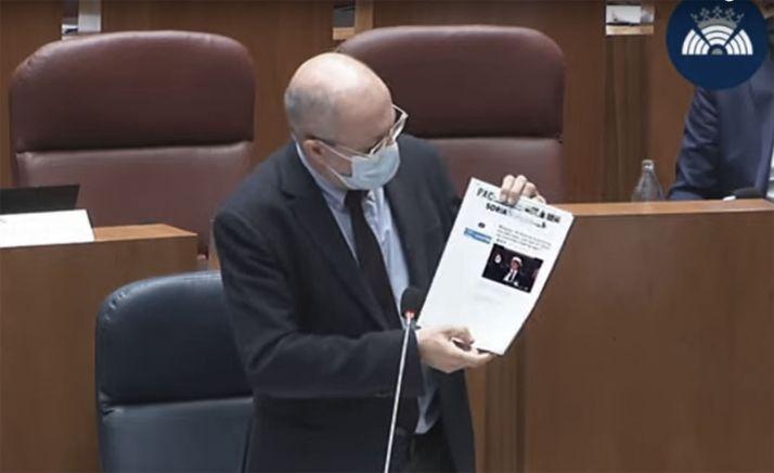 Francisco Igea, durante su intervención en el pleno de las Cortes regionales hoy.
