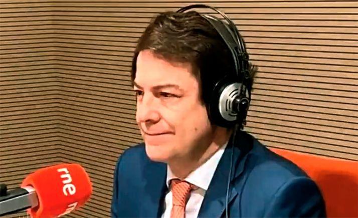 Fernández Mañueco en su intervención hoy en RNE.