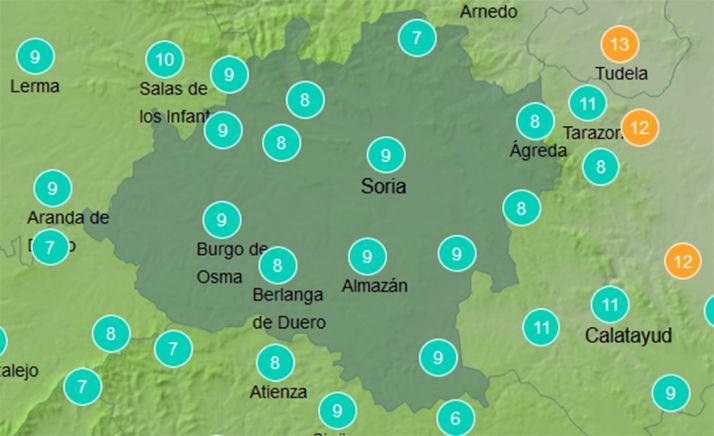 Temperaturas a las doce del mediodía de este domingo. /AEMET