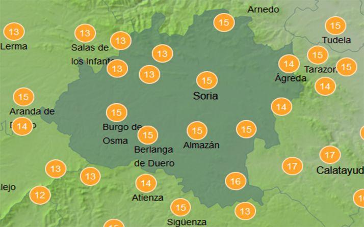 Temperaturas a las doce del mediddía este lunes. /AEMET