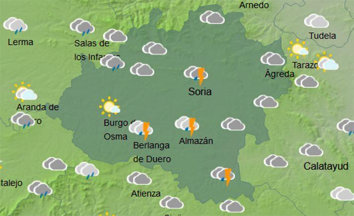 Mapa del cielo soriano a las 12:00 horas para este miércoles. /AEMET