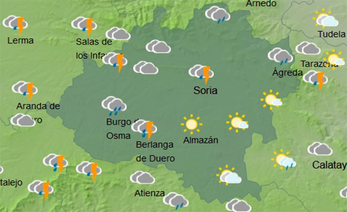 Mapa con el cielo soriano a las 14:00 horas. /AEMET