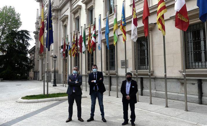 Los representantes de la red junto al edificio que acoge la Cámara Alta. /SSPA
