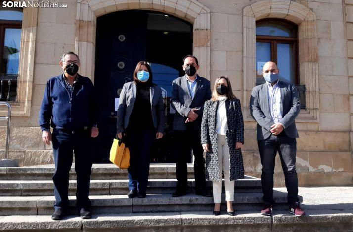 Benito Serrano y los presidentes de los Cuatro Grupos de Acción Local de Soria.