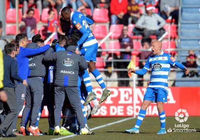 Los jugadores del Deportivo celebrando un gol en Los Pajaritos./Foto: LFP