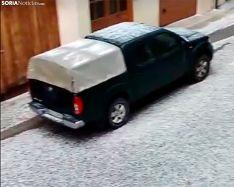 Una imagen de la granizada en El Burgo esta tarde. /SN