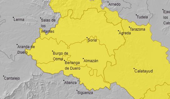 Aviso amarillo por lluvias y tormentas en Soria. /AEMET