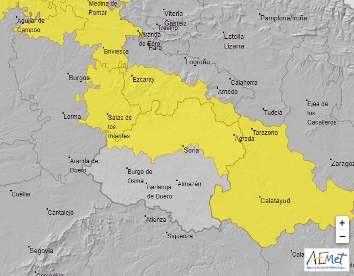 Aviso amarillo en Soria.