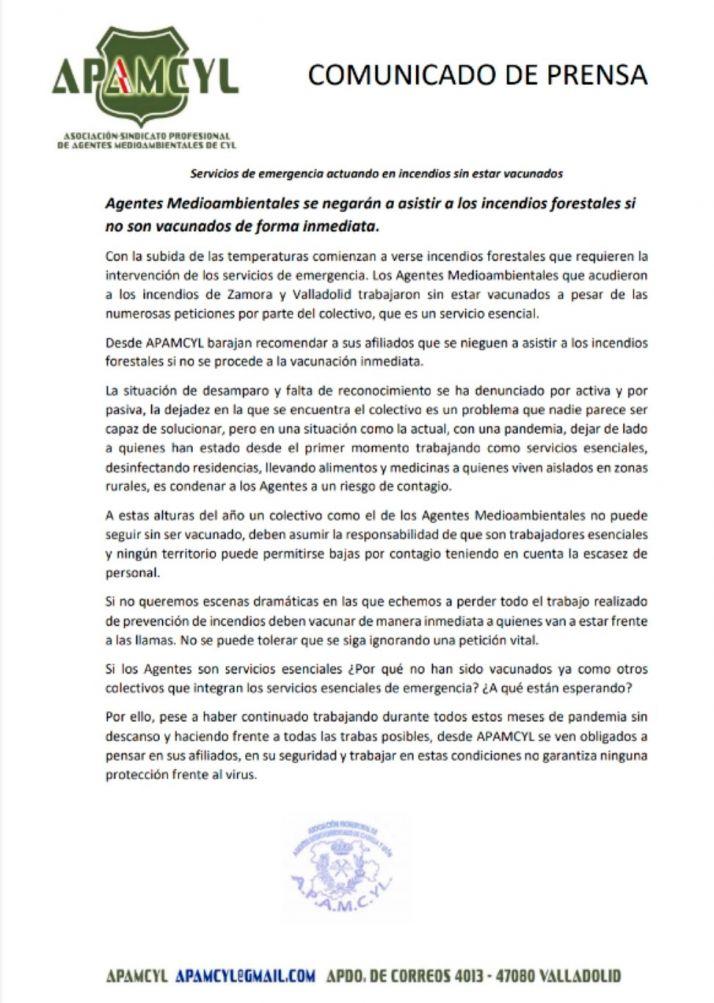 El comunicado emitido por APAMCyL.