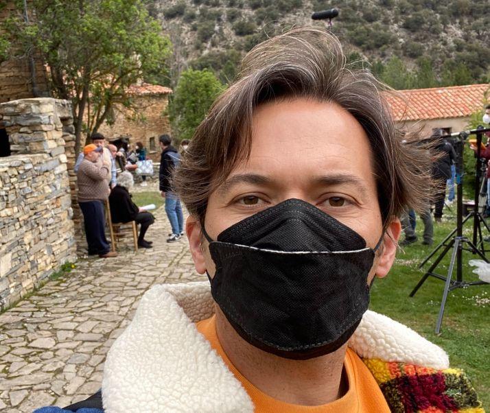 Alberto Caballero durante el inicio del rodaje en Valdelavilla