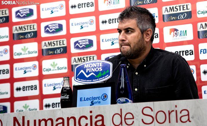 El técnico numantino, en rueda informativa este domingo. /María Ferrer