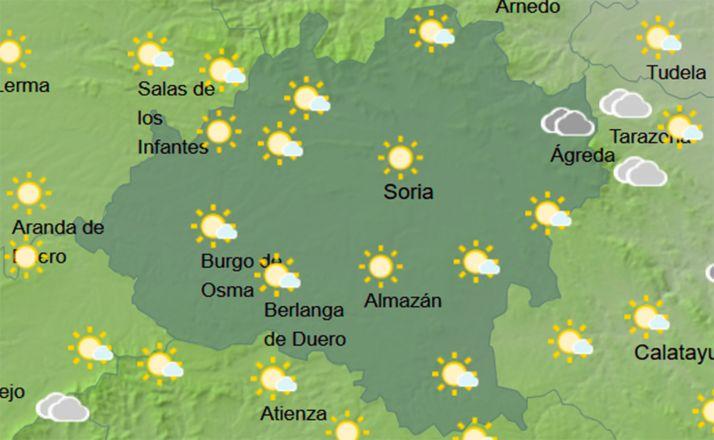Mapa del cielo soriano a las 12:00 horas para este viernes. /AEMET