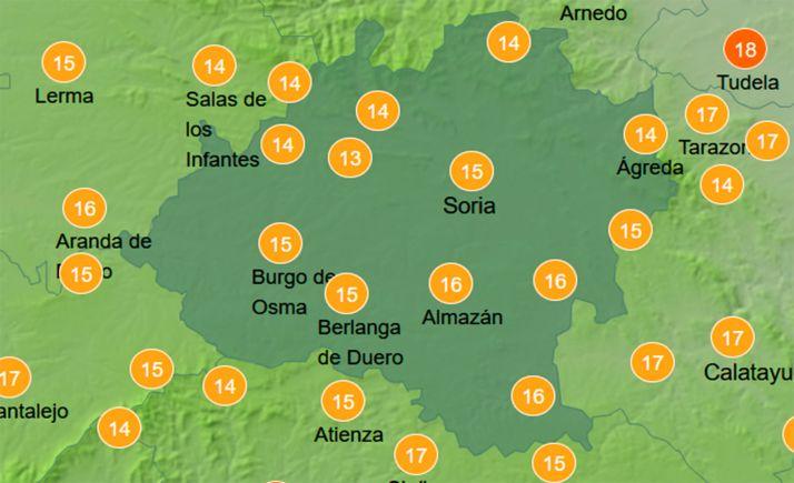 Temperaturas hoy a las 13:00 horas. /AEMET