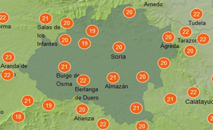 Temperaturas a las 12:00 horas. /AEMET