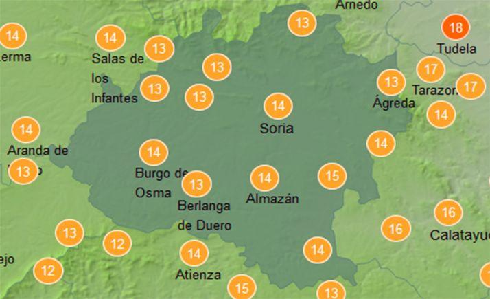 Temperaturas a las doce del mediddía este miércoles. /AEMET