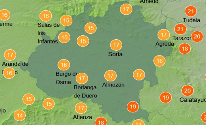 Previsión de las temperaturas a las 12:00 horas. /AEMET