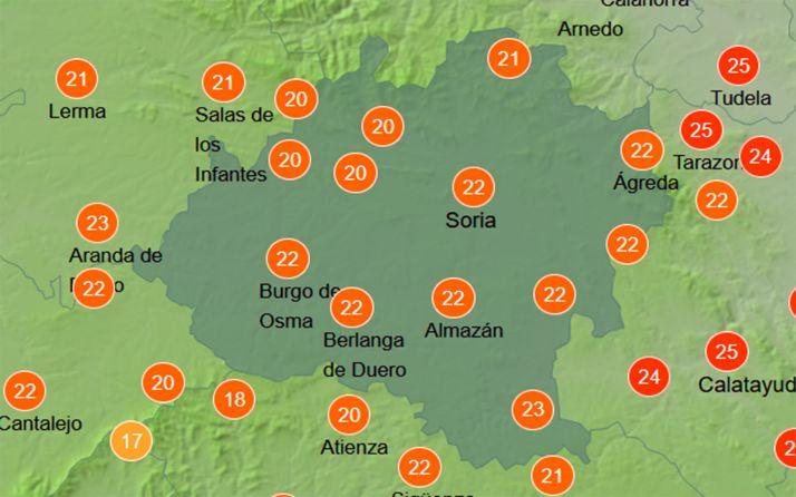 Temperaturas a las doce del mediodía de este sábado. /AEMET