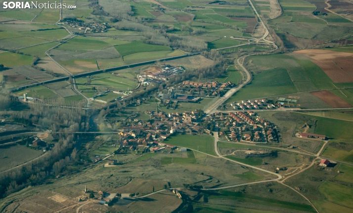 Urbanizaciones a las afueras de Garray en una vista aérea. Soria Noticias