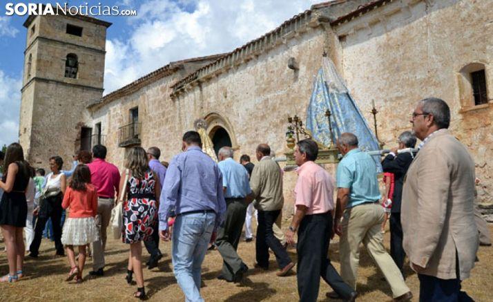 Imagen de archivo de la romería a la Monjía, durante las fiestas de Fuentetoba.