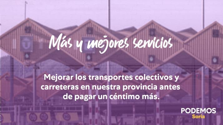 Cartel de Podemos sobre los peajes./Foto: Podemos Soria.