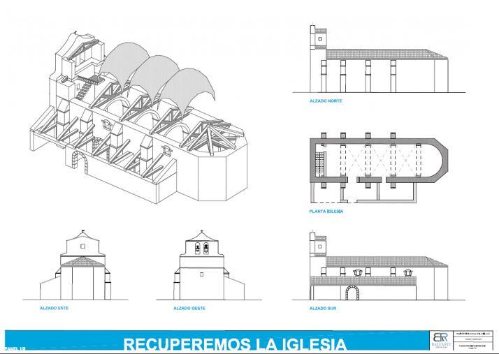 Imágenes de la iglesia, planos del proyecto y de la carta al Papa./ Foto: Asociación Amigos de Sarnago.