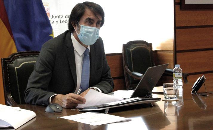 El consejero, durante laConferencia Sectorial de Vivienda, Urbanismo y Suelo, esta tarde. /Jta.