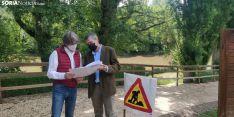 Mínguez visita las obras de acondicionamiento de las márgenes del Duero