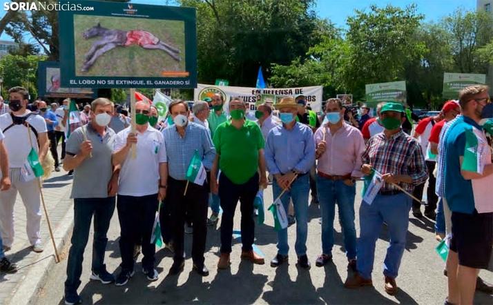 Representantes de ASAJA Soria hoy en Madrid. /SN